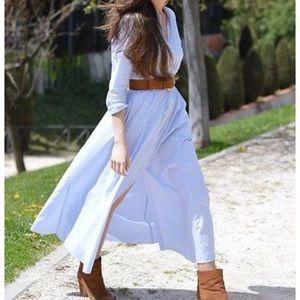 Zara Premium Collection micro stripe duster dress